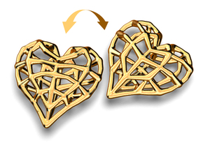 Doublesided Skeleton Heart in Polished Gold Steel
