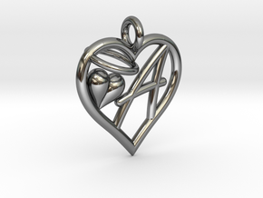 HEART A in Fine Detail Polished Silver