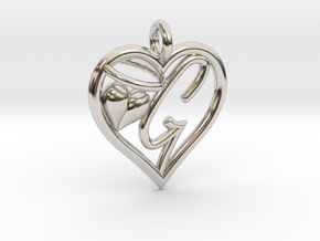 HEART G in Rhodium Plated Brass