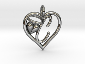 HEART C in Fine Detail Polished Silver