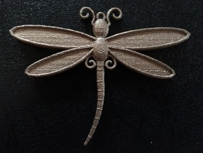Dragonfly Pendant in Polished Bronzed Silver Steel