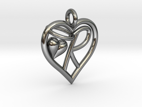 HEART R in Fine Detail Polished Silver