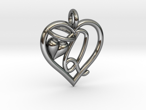 HEART Q in Fine Detail Polished Silver