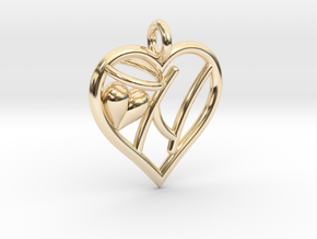 HEART N in 14k Gold Plated Brass