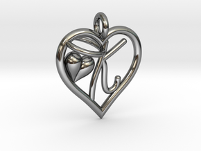 HEART K in Fine Detail Polished Silver