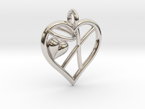 HEART X in Rhodium Plated Brass