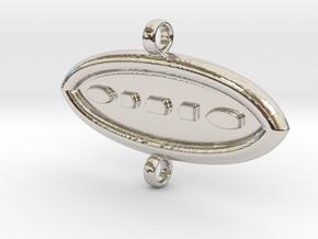AM Pendant01 in Rhodium Plated Brass