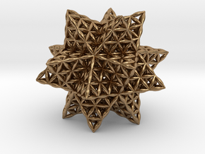 Flower Of Life Stellated Icosahedron in Natural Brass