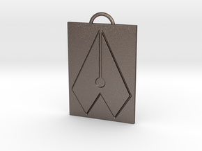 Axial Works™ Symbol: Full Keychain in Polished Bronzed Silver Steel