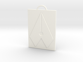 Axial Works™ Symbol: Full Keychain in White Processed Versatile Plastic