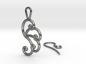 Fibonacci Earring 4 in Fine Detail Polished Silver