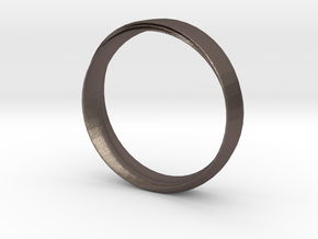 Mobius Ring with Groove Size US 9.75 in Polished Bronzed Silver Steel