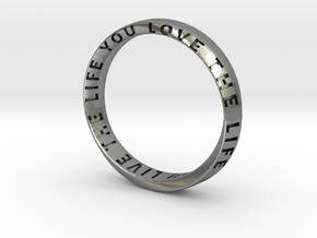 Live The Life You Love - Mobius Ring V2 in Natural Silver