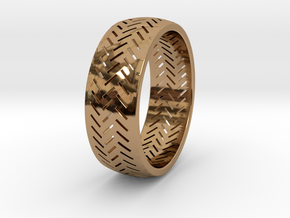 Herringbone Ring Size 7.5 in Polished Brass