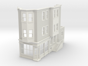 O scale WEST PHILLY 3S ROW STORE CORNER R Brick in White Natural Versatile Plastic
