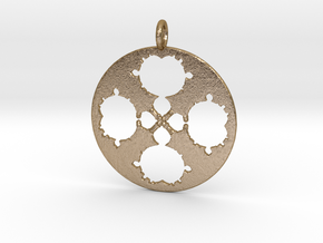 Mandelbrot Clover Pendant in Polished Gold Steel