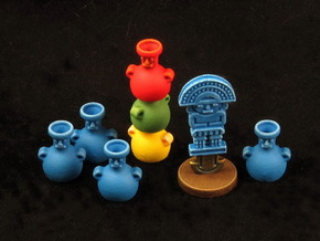 Mayan Pottery & Knife tokens (8 pcs) in Blue Strong & Flexible Polished
