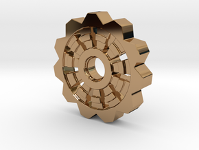 Cog Pendant  in Polished Brass