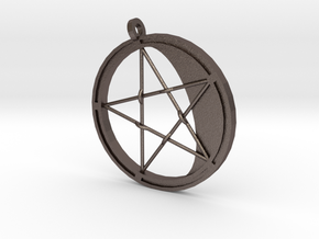 Pentagram Pendant in Polished Bronzed Silver Steel