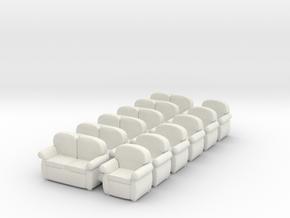 Sofas 01. HO  Scale (1:87) in White Natural Versatile Plastic