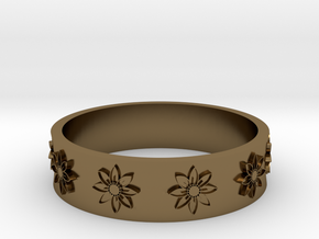 flower ring in Polished Bronze
