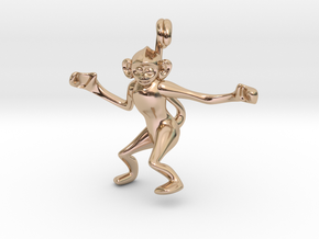 3D-Monkeys 005 in 14k Rose Gold Plated Brass