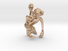 3D-Monkeys 015 in 14k Rose Gold Plated Brass
