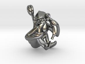 3D-Monkeys 063 in Fine Detail Polished Silver