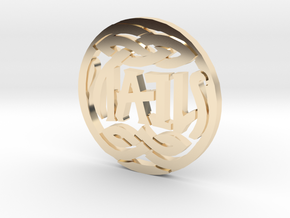 Heads and Tails Ambigram Coin in 14k Gold Plated Brass