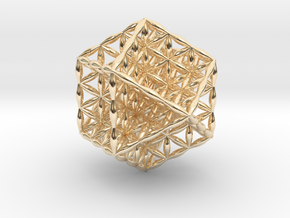 Flower Of Life Vector Equilibrium in 14k Gold Plated Brass