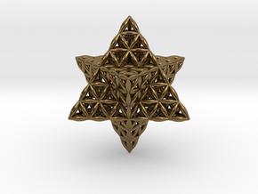 Flower Of Life Star Tetrahedron in Polished Bronze