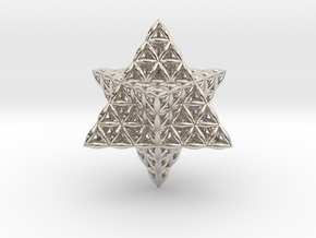 Flower Of Life Star Tetrahedron in Rhodium Plated Brass