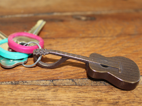 Acoustic Guitar Keychain in Polished Bronze Steel