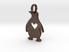 Penguin Love in Polished Bronze Steel