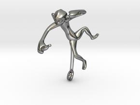 3D-Monkeys 124 in Fine Detail Polished Silver