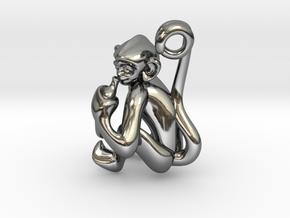 3D-Monkeys 134 in Fine Detail Polished Silver