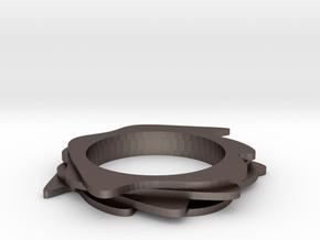 Neo Abstarct Bracelet in Polished Bronzed Silver Steel