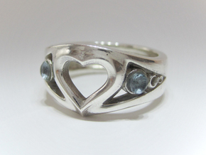 Heart Ring(inner diameter of ring17.4mm) in Polished Silver