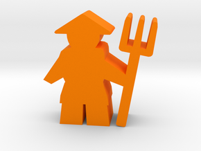 Game Piece, Asian Farmer with pitchfork in Orange Strong & Flexible Polished