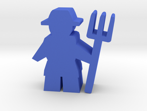 Game Piece, Farmer with pitchfork in Blue Strong & Flexible Polished