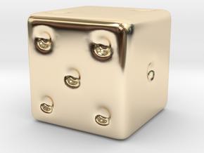 Thermal Detonator Dice for RPG 15mm in 14k Gold Plated Brass