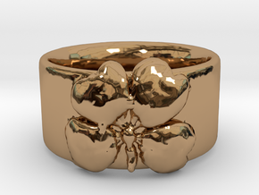 Four Leaf Clover Ring Size 6 in Polished Brass