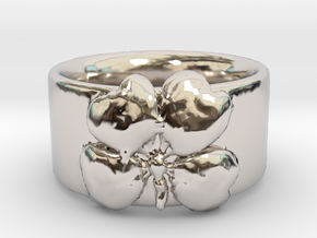 Four Leaf Clover Ring Size 6 in Rhodium Plated Brass