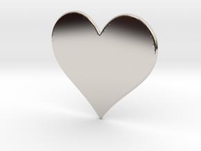 Heart in Rhodium Plated Brass