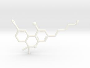 THC (Tetrahydrocannabinol) Pendant in White Processed Versatile Plastic