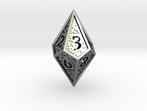 Hedron D10 (v2 closed) Spindown - Hollow in Polished Silver