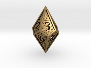Hedron D10 (v2 closed) Spindown - Hollow in Polished Bronze