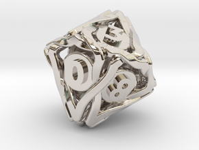 'Twined' Dice D10 Gaming Die (18 mm) in Rhodium Plated Brass