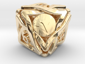 'Twined' Dice D8 Gaming Die (16 mm) in 14k Gold Plated Brass