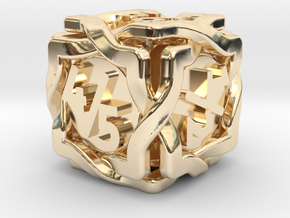 'Twined' Dice D6 Gaming Die Tarmogoyf P/T Version in 14k Gold Plated Brass